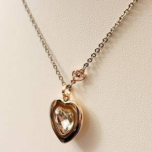 NEW WHBM Clear Crystal and Gold Heart Necklace